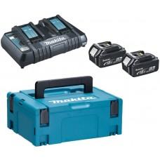 Aku set - 2x akumulátor (18V, 5,0Ah), dvojnabíjačka DC18RD, systainer