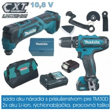 Sada CLX206X2 s príslušenstvom (aku skrutkovač DF331DZ + prístroj mult. TM30DZ) /10,8V resp. 12V - 2 x1,5 Ah/