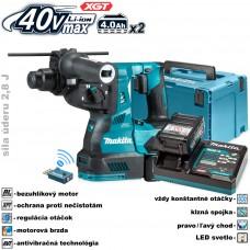 Aku kladivo kombinované HR001GM202 / SDS+ (XGT 40V, 2x akumulátor 4,0Ah, nabíjačka, bluetooth, v kufri)