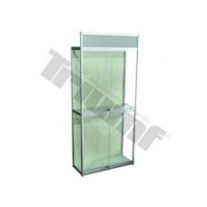 Predajný stojan na náradie, presklený s posúvnymi dverami, bez háčikov