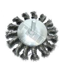 Kotúč drôtený plochý 75 mm, tŕň 6 mm, vrkočový