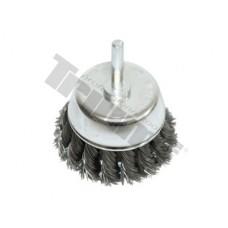 Kotúč drôtený hrncový 75 mm, tŕň 6 mm, vrkočový