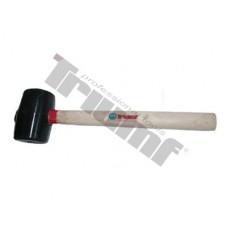 kladivo gumené čierne, súdkovitý tva, drevená rukoväť - Ø75x135 mm