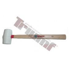 Kladivo gumené biele, súdkovitý tvar OE50x85 mm, 400g, malé, drevená rukoväť - Ø50x85 mm
