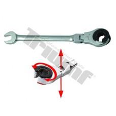 Kľúč očkovidlicový račňový s prerezaným očkom a flexibilnou hlavou - 15 mm